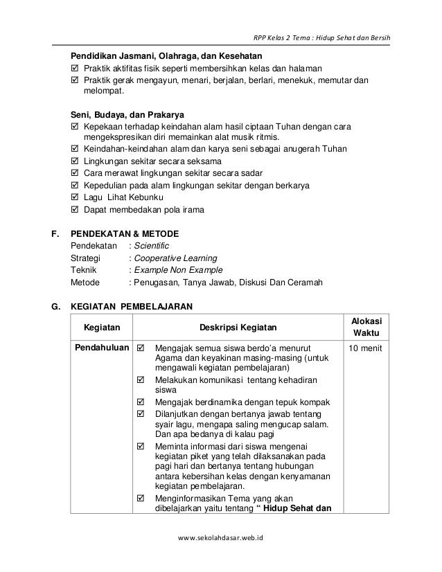 5 Rpp Sd Kelas 2 Semester 2 Hidup Sehat Dan Bersih Blonya Nova