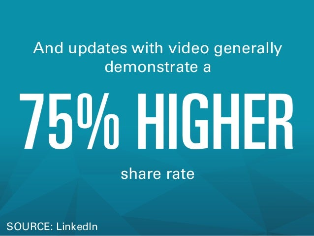 And updates with video generally demonstrate a  75% HIGHER share rate  SOURCE: LinkedIn