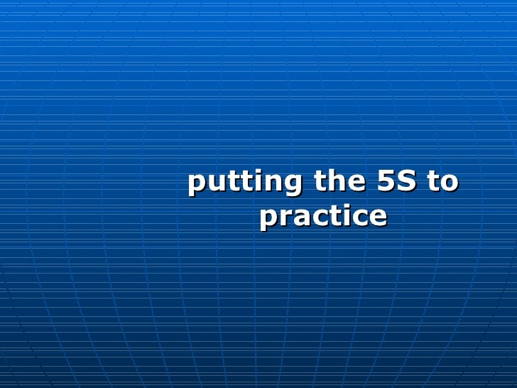 putting the 5S to practice