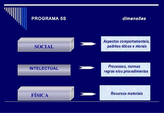 PROGRAMA 5S dimensões SOCIAL INTELECTUAL Aspectos comportamentais, padrões éticos e morais Processos, normas regras e/ou p...