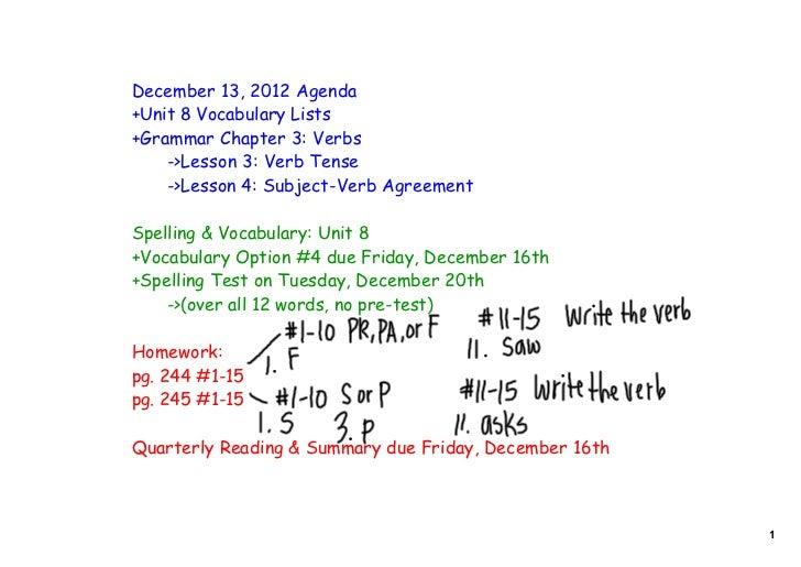 December 13, 2012 Agenda+Unit 8 Vocabulary Lists+Grammar Chapter 3: Verbs    ->Lesson 3: Verb Tense    ->Lesson 4: Subject...