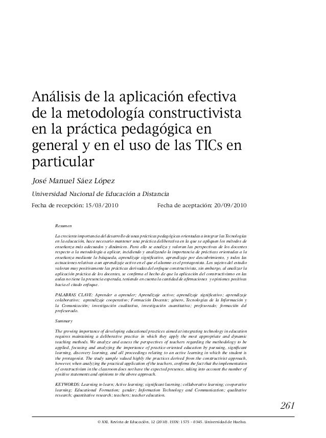 © XXI, Revista de Educación, 12 (2010). ISSN: 1575 - 0345. Universidad de Huelva. 261 Análisis de la aplicación efectiva d...