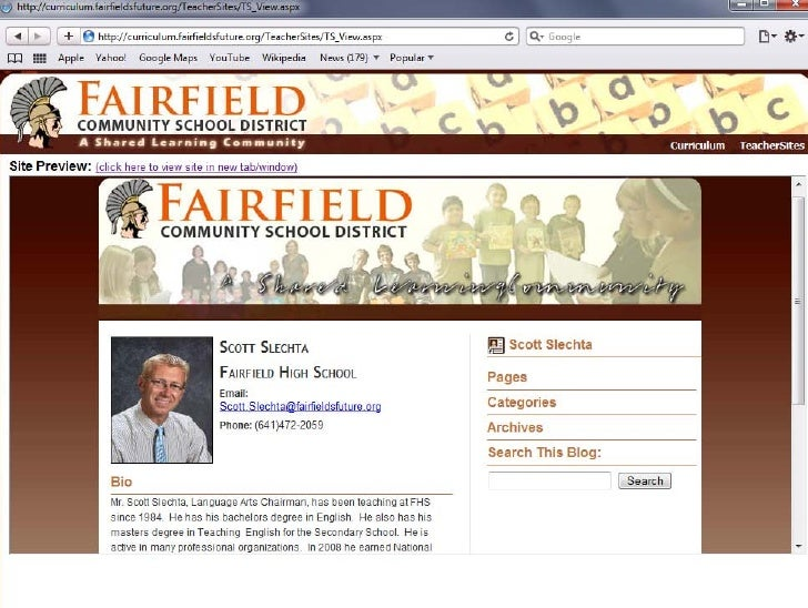The staff page.