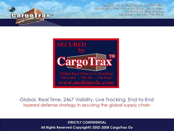 STRICTLY CONFIDENTIAL All Rights Reserved Copyright© 2002-2008 CargoTrax Oy <ul><ul><li>Global, Real Time, 24x7 Visibility...