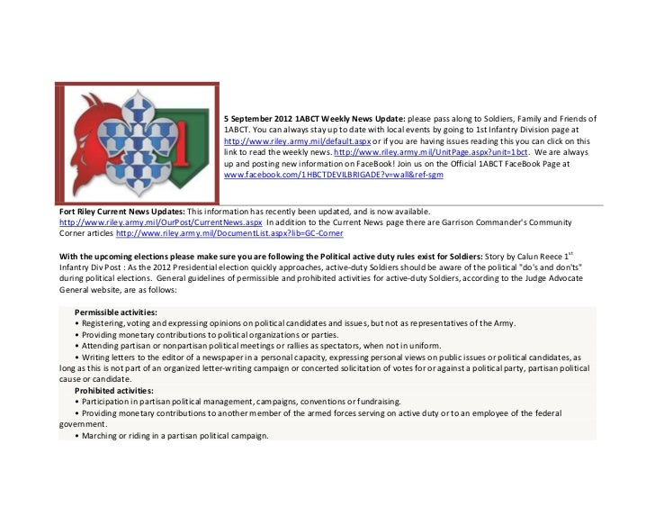 5 September 2012 1ABCT Weekly News Update: please pass along to Soldiers, Family and Friends of                           ...