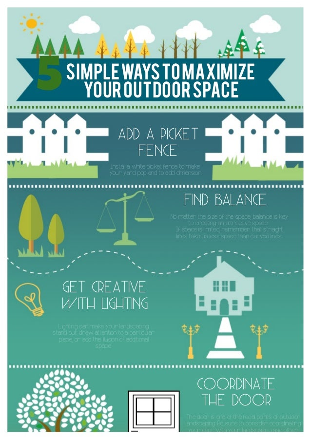 simplewaystomaximize youroutdoorspace5 ADD A PICKET FENCE Install a white picket fence to make your yard pop and to add di...