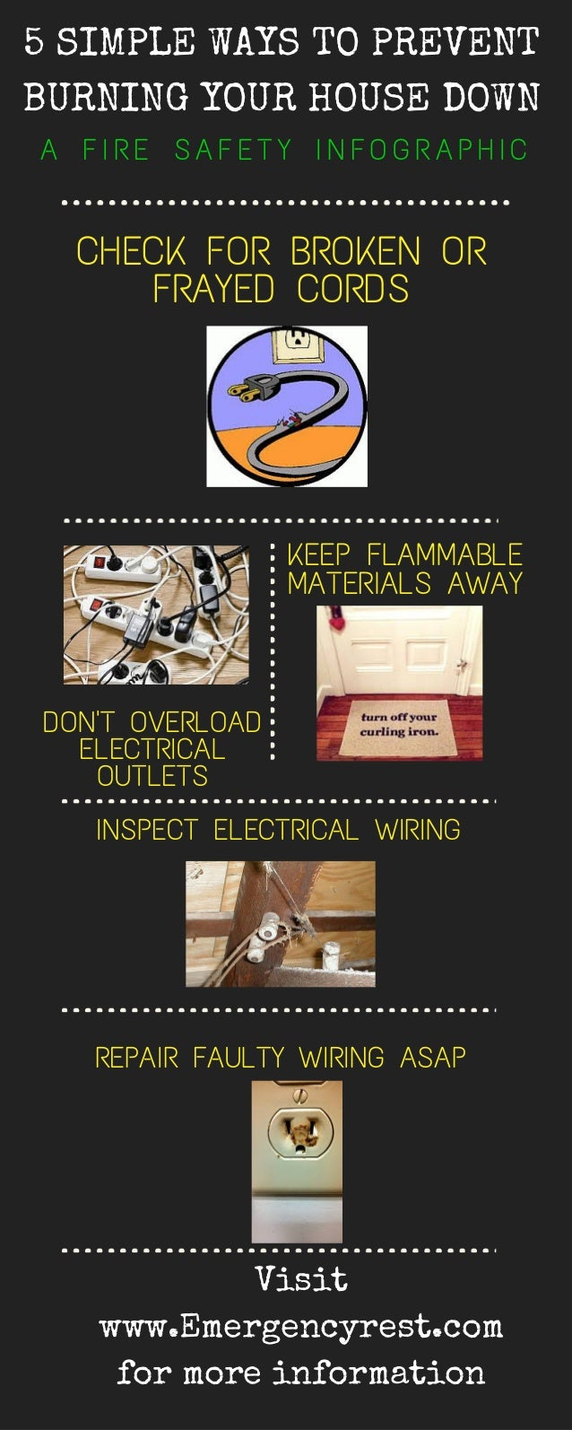 Home Fire Safety Infographic House Wiring Check For Broken Or Frayed Cords Repair Faulty Asap Inspect Electrical Dont