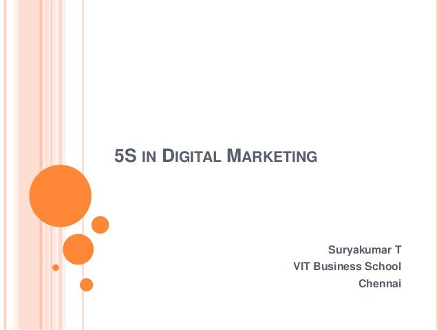 5S IN DIGITAL MARKETING Suryakumar T VIT Business School Chennai