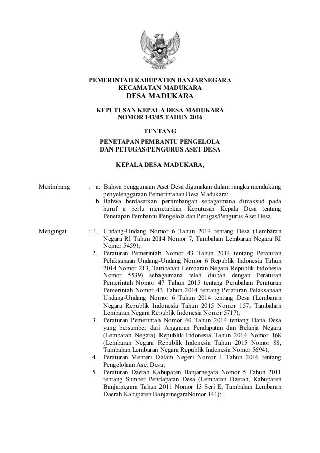 PEMERINTAH KABUPATEN BANJARNEGARA KECAMATAN MADUKARA DESA MADUKARA KEPUTUSAN KEPALA DESA MADUKARA NOMOR 143/05 TAHUN 2016 ...