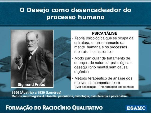 O Desejo como desencadeador do processo humano PSICANÁLISE - Teoria psicológica que se ocupa da estrutura, o funcionamento...