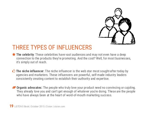 19 LiSTEN E-Book   October 2015   Cision   cision.com THREE TYPES OF INFLUENCERS  The celebrity: These celebrities have v...