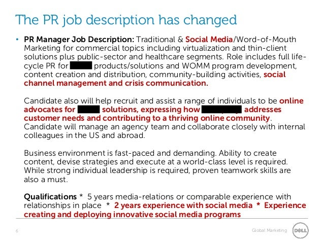 Public Relations Manager Job Description  Plan