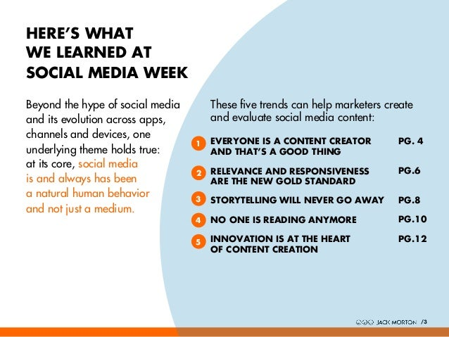 HERE'S WHAT WE LEARNED AT SOCIAL MEDIA WEEK Beyond the hype of social media and its evolution across apps, channels and de...