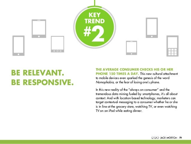 BE RELEVANT. BE RESPONSIVE.  THE AVERAGE CONSUMER CHECKS HIS OR HER PHONE 150 TIMES A DAY. This new cultural attachment to...