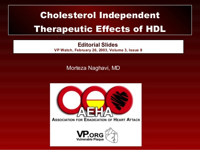 Editorial Slides VP Watch, February 26, 2003, Volume 3, Issue 8 Cholesterol Independent Therapeutic Effects of HDL Morteza...