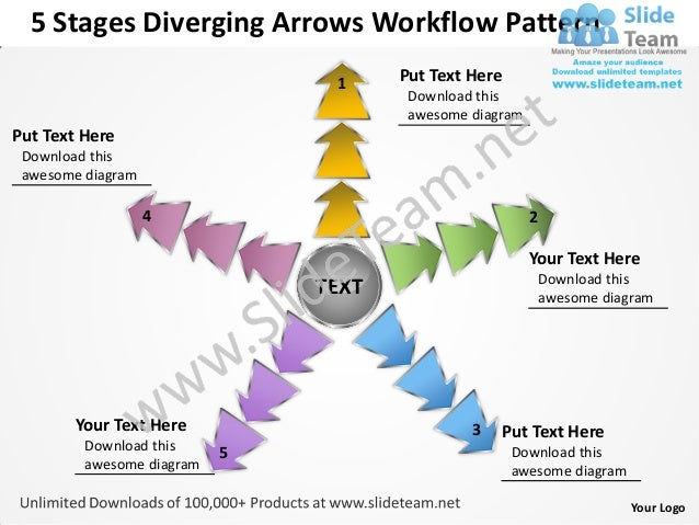 5 Stages Diverging Arrows Workflow Pattern                                1     Put Text Here                             ...