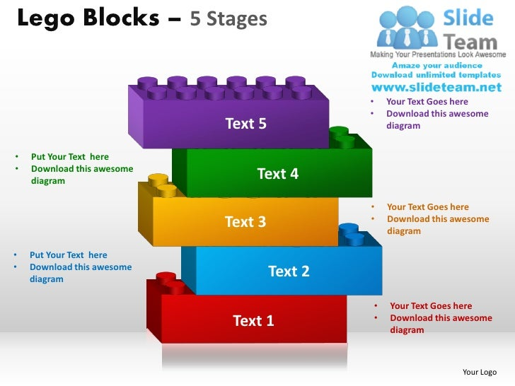5 Stages Lego Blocks Powerpoint Slides Ppt Templates