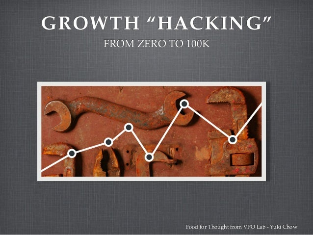 """GROWTH """"HACKING"""" FROM ZERO TO 100K Food for Thought from VPO Lab - Yuki Chow"""