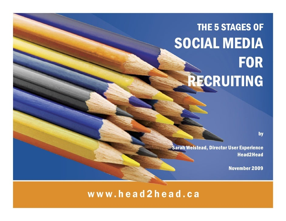 THE 5 STAGES OF  SOCIAL MEDIA           FOR    RECRUITING                                        by  Sarah Welstead, Direc...