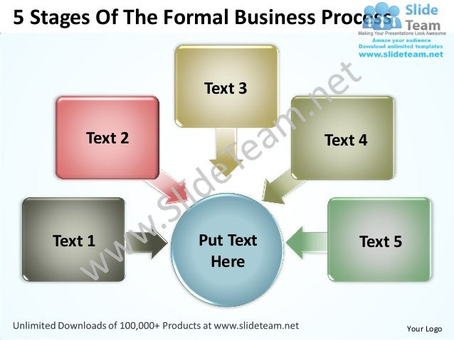 5 stages of the formal business process powerpoint templates 0812