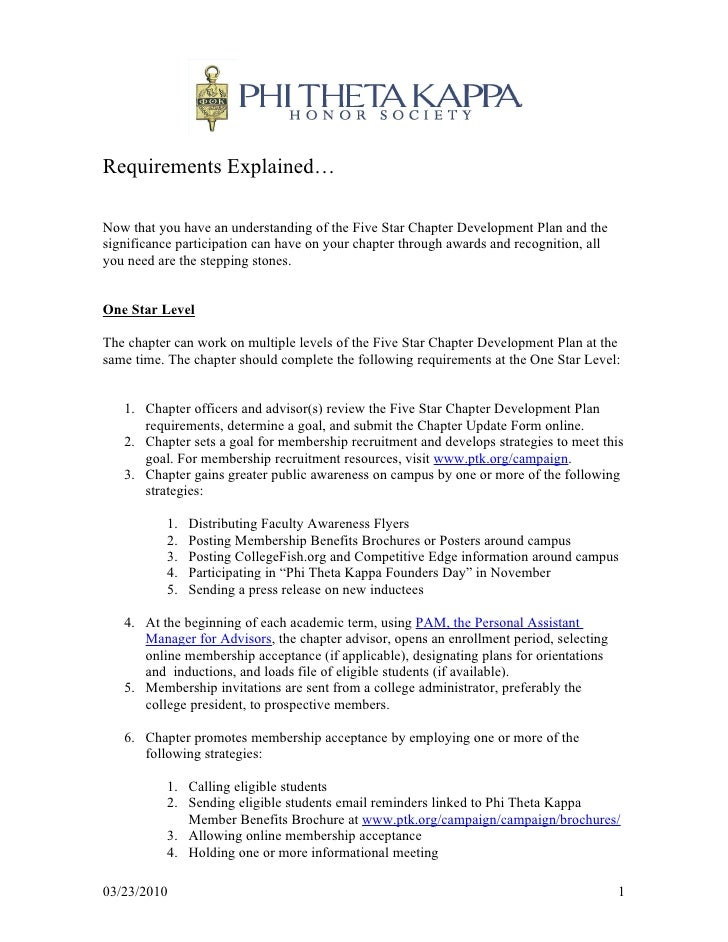 Requirements Explained…  Now that you have an understanding of the Five Star Chapter Development Plan and the significance...