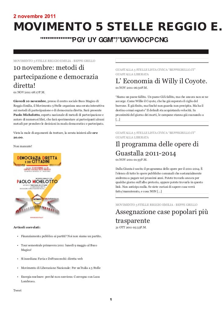 2 novembre 2011MOVIMENTO 5 STELLE REGGIO EMILIA - BEPPE GRILLO10 novembre: metodi di                                      ...