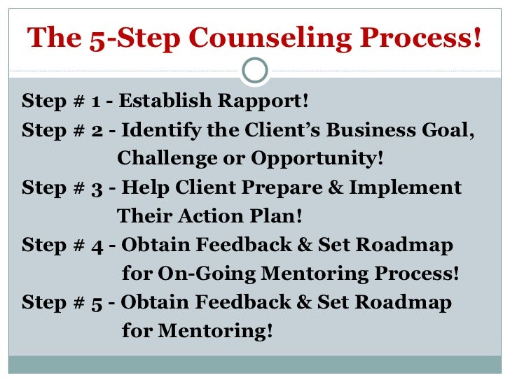 counseling processes Counseling process each counselor has a unique way of approaching his or her work i maintain core beliefs that inform my therapeutic approach.