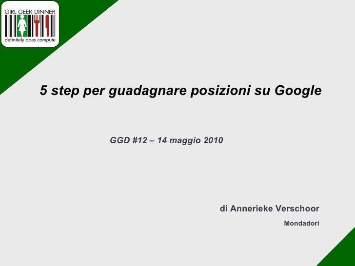di Annerieke Verschoor Mondadori GGD #12 – 14 maggio 2010 5 step per guadagnare posizioni su Google