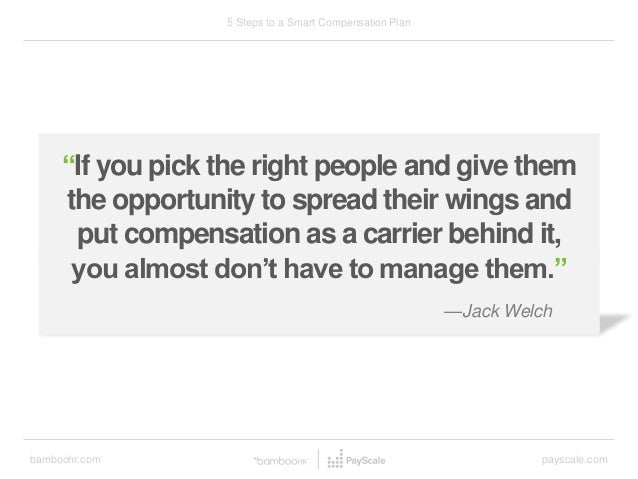 """bamboohr.com payscale.com 5 Steps to a Smart Compensation Plan """"If you pick the right people and give them the opportunity..."""