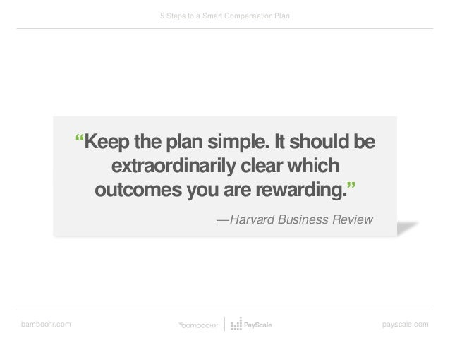 "bamboohr.com payscale.com 5 Steps to a Smart Compensation Plan —Harvard Business Review ""Keep the plan simple. It should b..."