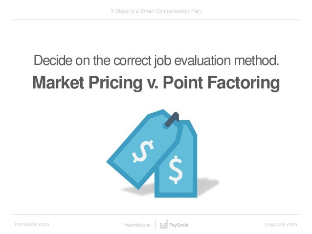 bamboohr.com payscale.com 5 Steps to a Smart Compensation Plan Decide on the correct job evaluation method. Market Pricing...