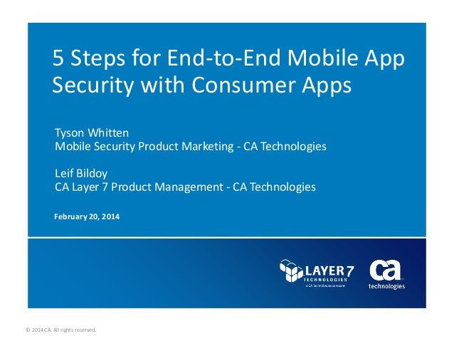 © 2014 CA. All rights reserved. 5 Steps for End-to-End Mobile App Security with Consumer Apps February 20, 2014 Tyson Whit...