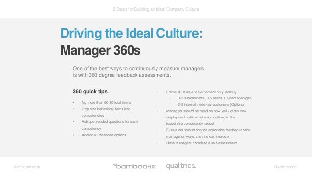 5 Steps for Building an Ideal Company Culture bamboohr.com Qualtrics.com Driving the Ideal Culture: Manager 360s One of th...