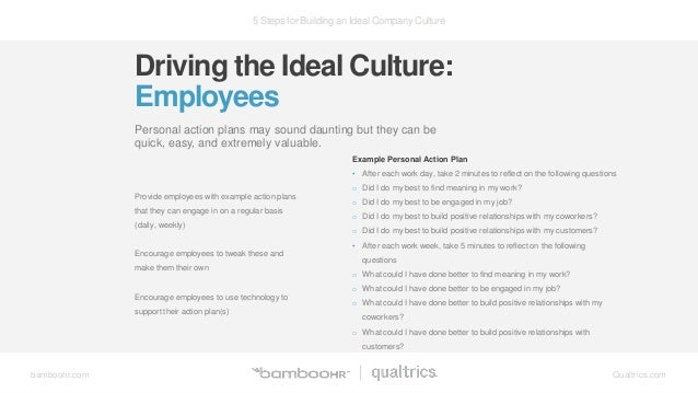 5 Steps for Building an Ideal Company Culture bamboohr.com Qualtrics.com Driving the Ideal Culture: Employees Personal act...