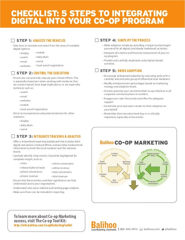 CHECKLIST: 5 STEPS TO INTEGRATING DIGITAL INTO YOUR CO-OP PROGRAM STEP 1: ANALYZE THE VEHICLES - Take time to consider and...