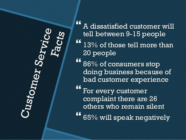 CustomerService Facts }A dissatisfied customer will tell between 9-15 people }13% of those tell more than 20 people }86...