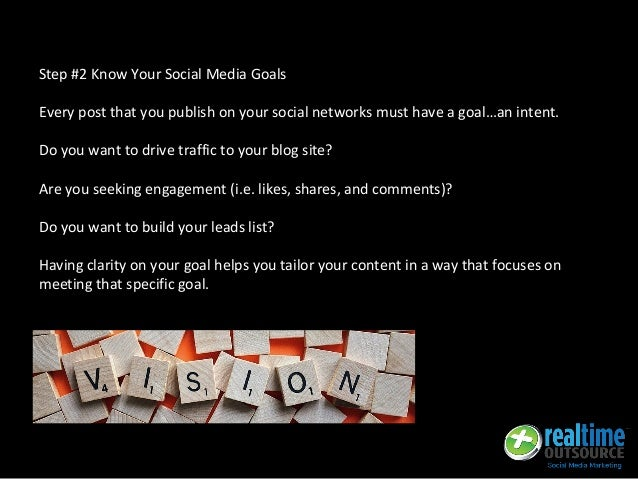 Step #2 Know Your Social Media Goals Every post that you publish on your social networks must have a goal…an intent. Do yo...