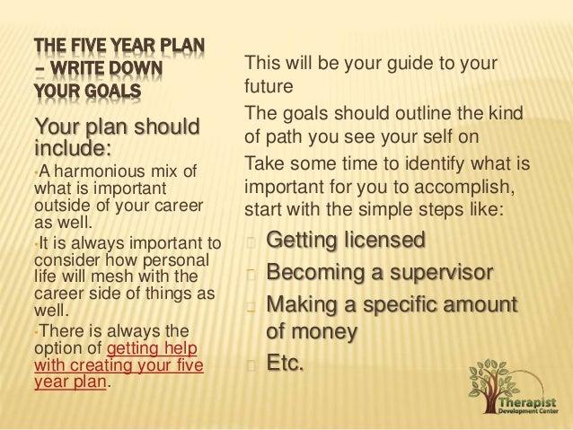 Writing a 5 year life plan
