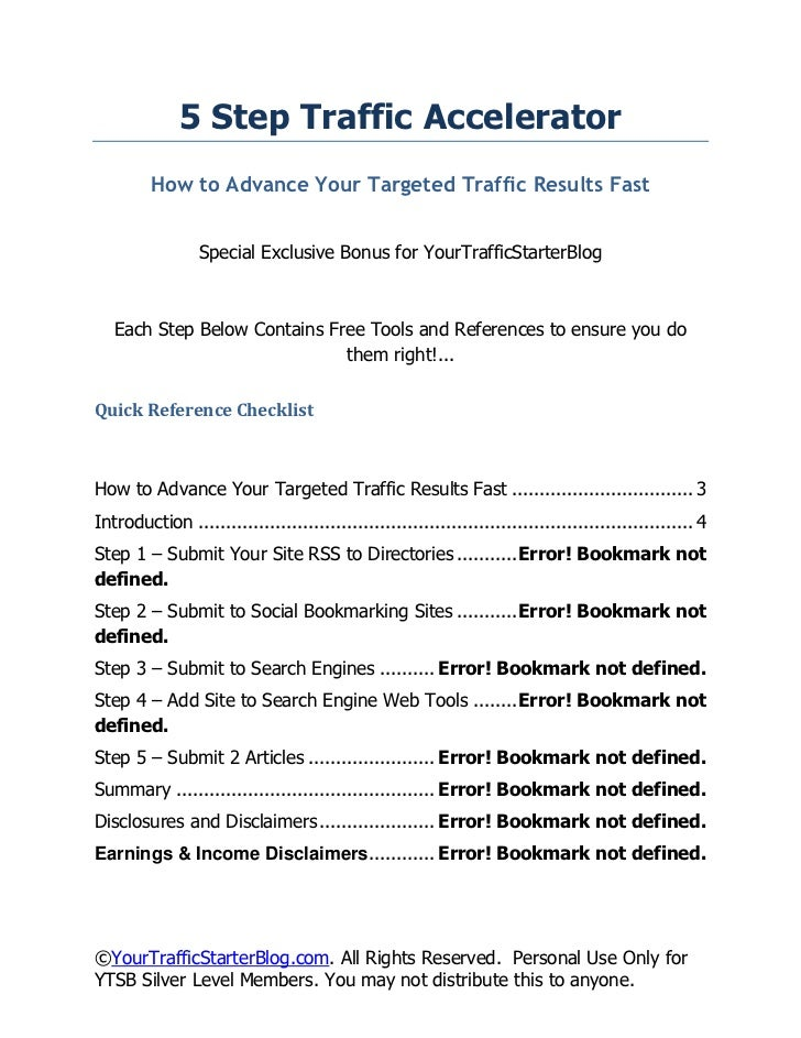 5 Step Traffic Accelerator         How to Advance Your Targeted Traffic Results Fast                 Special Exclusive Bon...