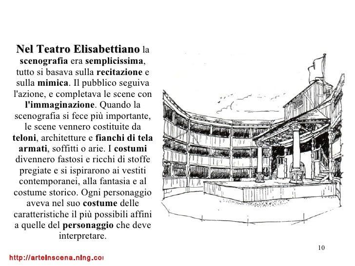 Nel Teatro Elisabettiano   la  scenografia  era  semplicissima , tutto si basava sulla  recitazione  e sulla  mimica . Il ...