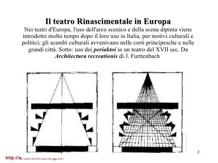 Il teatro Rinascimentale in Europa Nei teatri d'Europa, l'uso dell'arco scenico e della scena dipinta viene introdotto mol...