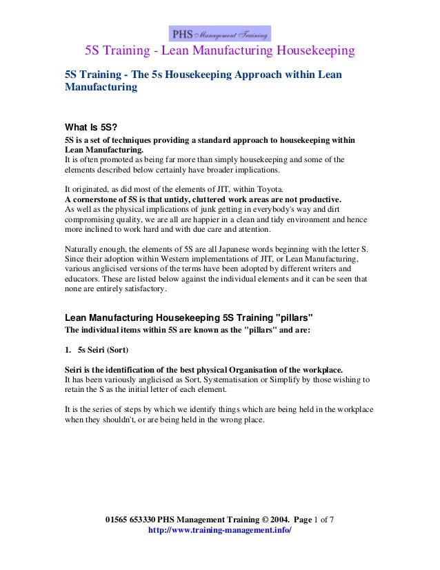 5S Training - Lean Manufacturing Housekeeping 5S Training - The 5s Housekeeping Approach within Lean Manufacturing  What I...