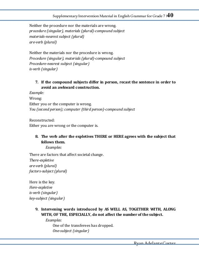 Supplementary Intervention Material In English Grammar 7 By Ryan A C