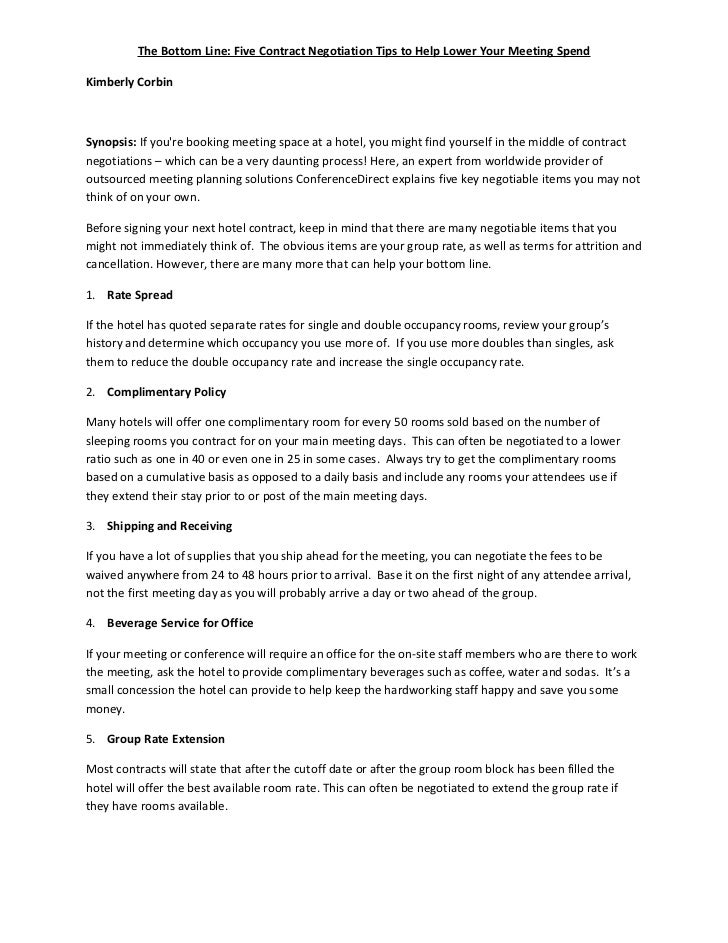 5 Sure Fire Hotel Contract Negotiation Tips I Bet U Missed