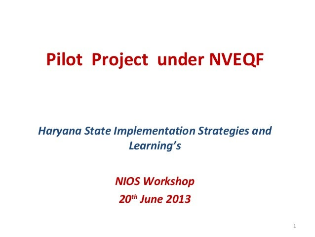 Pilot Project under NVEQF Haryana State Implementation Strategies and Learning's NIOS Workshop 20th June 2013 1