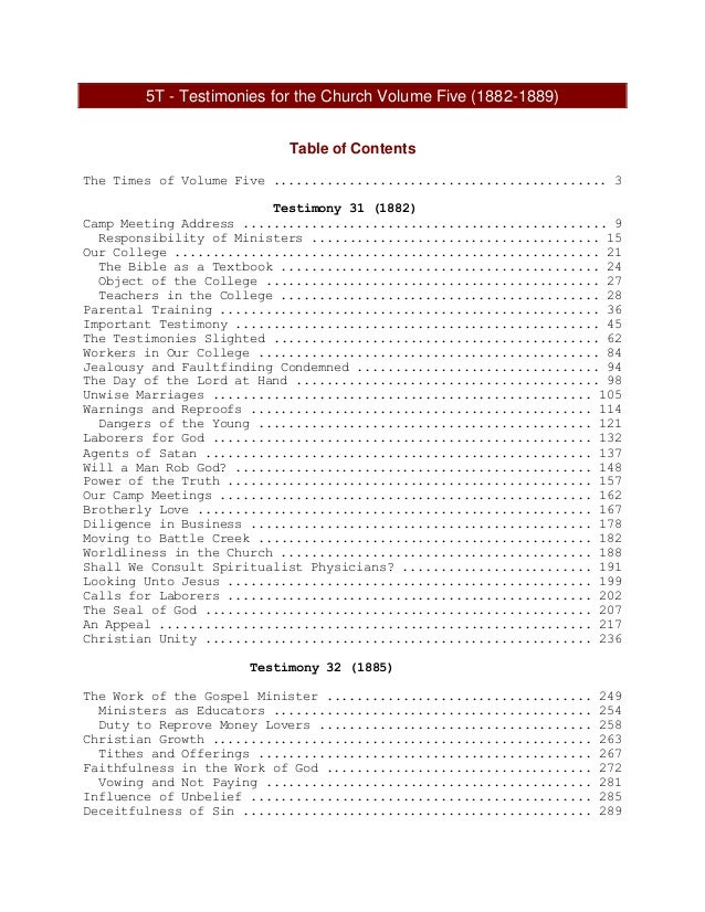 5T - Testimonies for the Church Volume Five (1882-1889) Table of Contents The Times of Volume Five ..........................