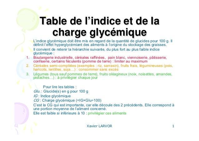 Xavier LARVOR 1 Table de lTable de l''indice et de laindice et de la charge glyccharge glycéémiquemique L'indice glycémiqu...