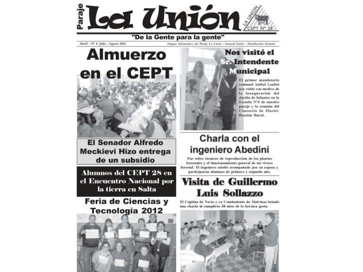 Boletín Comunitario La Unión - 2da edición Julio - Agosto - 2012