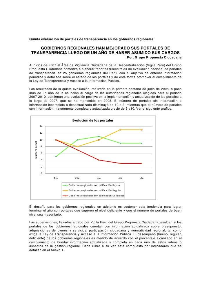 Quinta evaluación de portales de transparencia en los gobiernos regionales      GOBIERNOS REGIONALES HAN MEJORADO SUS PORT...