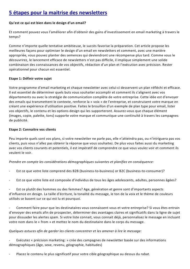 5 étapes pour la maitrise des newsletters Qu'est ce qui est bien dans le design d'un email?  Et comment pouvez vous l'amél...
